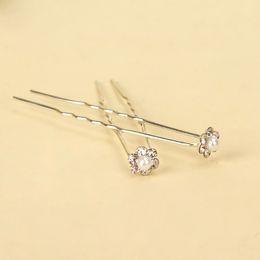 Wholesale Acrylic Hairpin - 10Pcs Faux Pearl RHINESTONE U-shaped Hairpins Wedding Bridal Hair Prom Pins Pin Small Size Multi Color
