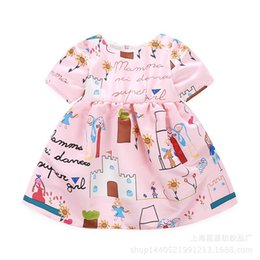 Wholesale Girls Doodles - 2017 girls doodle dresses kids cotton clothes children summer short sleeve clothing for 90-140