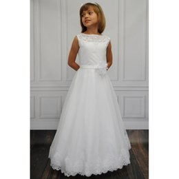 Wholesale Green Derss - Flower Girl Dress girls Cheap Lace communion Satin Derss Sashes Little Kids Gowns Wedding Girls' Pageant Dresses
