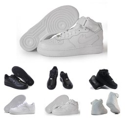 Wholesale Low Cut Skating Shoe - High Quality forces Classical All White black low high cut men women Sports sneakers Running Shoes Forceing one skate Shoes US 5.5-11