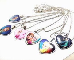 Wholesale Stainless Steel Popcorn Necklace Chain - 20pcs Frozen Ana Elsa Stainless Steel Pendant Necklaces Children Birthday Party Gift Wholesale Fashion Jewelry Lots