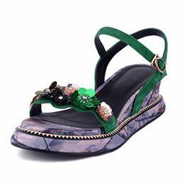 Wholesale Black Wedge Flower - Sweet Sequins Flower Women Sandals Bling Bling Floral Wedges Summer Shoes Ankle Strap Sandals For Lady