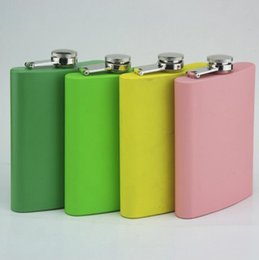 Wholesale Candies Wine Bottle - Stainless Steel Hip Flasks 8oz Stoup With Screw Cap Candy Colors Liquor Flask Glass Wine Bottles 4 Colors OOA1829