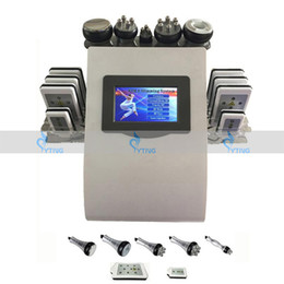 Wholesale Portable Liposuction Cavitation Slimming Machine - Portable Lipo Laser Slimming Machine with 8 Pads Vacuum Cavitation RF Diode Ultrasound Liposuction Fat Cellulite Removal Beauty Equipment