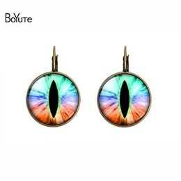 Wholesale Silver Plated Eye Screw - BoYuTe (12 Pairs Lot) Fashion Glass Cabochon Earrings Jewelry Women Eye Earrings Diy Copper Earrings 18MM Glass