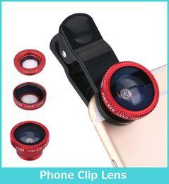 Wholesale Eye Lens Iphone - 3 In 1 Universal Clip Camera Mobile Phone Lens Fish Eye + Macro + Wide AngleFor iPhone 7 Samsung Galaxy S7 HTC Huawei All Phones fisheye