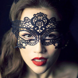 Wholesale Sexy Masquerade Ball Costumes - 2015 New Dancing Party Eye Mask Sexy Ball Lace Mask Girls Catwoman Masquerade Cat Halloween Fancy Dress Costume