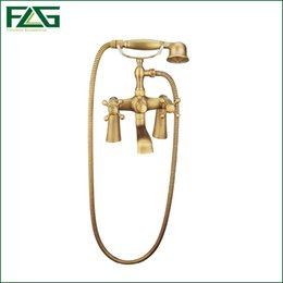 Wholesale Antique Rainfall Shower - Free shipping Luxury NEW Antique Brass Rainfall Shower Set Faucet + Tub Mixer Tap + Handheld Shower Telephone Wall Mounted HS001