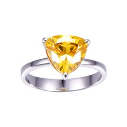 Wholesale Natural Citrine 925 Sterling Silver - 100% 925 Sterling Silver Natural Citrine Rings For Women Female Triangle Ring Finger Famous Original Jewelry Fine Jewelry