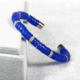 Wholesale Mens Bracelet Titanium - Wholesale 10pcs lot High Grade Open Cuff Blue Beads Titanium Stainless Steel Cz Spacer Bangle Cool Mens Fashion Bracelet