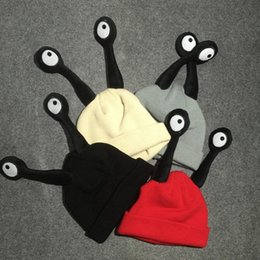 Wholesale Baby Hats Eyes - Children's Hats Baby Winter Hat Cute Eyes Insect Kids Hats For Girls Bonnet Warm Wool Knitted Baby Hat For Girl Children Boys
