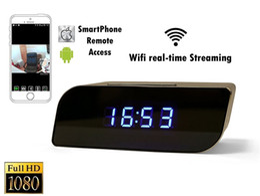 Wholesale Time Clocks Wifi - 1080P P2P Wifi Pinhole Hidden Alarm Clock Camera Mini Spy Clock Camera Nanny Cam P2P Remote Control by APP Real-time Viewing