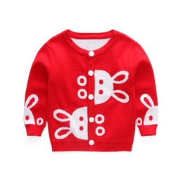 Wholesale Mixed Kids Clothes - 2017 Autumn Winter New Girls Cartoon rabbit Jacquard Sweaters Kid thick warm Cotton Coat Children Clothing Baby Knitted cardigan