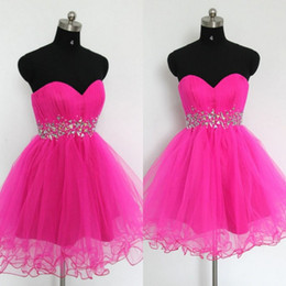 Wholesale Cheap Purple Corset Mini Dresses - Hot Pink Cheap Short Homecoming Dresses Ruched Tulle Sweetheart Sleeveless Crystals Waist Corset Back Homecoming Dress Party Gowns