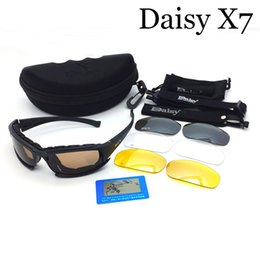 Wholesale War Game Pc - Tactical Daisy X7 C5 Goggle Glasses With 4 Lens Amry Sunglasses For Shooting War Game Use Polarized Sunglasses TY0010
