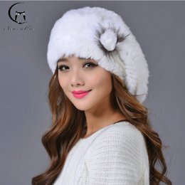 Wholesale Knitted Rex Rabbit Fur Beret - Wholesale-Hot Rex rabbit fur hat female winter knitted hat fashion beret hat female thick new party hats