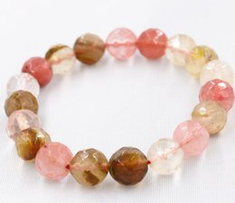 Wholesale Faceted Jade - New 10mm Watermelon Tourmaline Faceted Round Beads Bracelet 2PC Bracelet 7.5'' AAA
