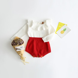 Wholesale Dolls American Girl - INS 2 color 2017 European and American Style new arrival baby girl solid color Cotton Doll Collar knitted baby romper high quality cotton