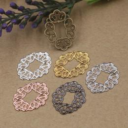 Wholesale Vintage Filigree - BoYuTe Wholesale 100 Pcs 21*27MM 7 Colors Vintage Charms Flower Filigree Brass Material DIY Jewelry Pendant Charms
