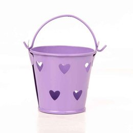 Wholesale Wholesale Tin Buckets Pails - happy_weddings Free Shipping Deep Gray Heart Hollow Mini Bucket Tin Pails Favor Tin Pails For Wedding Birthday Favors Gifts 20pcs