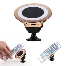 Wholesale Iphone Car Dock Charger - Factory Sale Qi Wireless Charger Dock Magnetic 360 Rotating Mount Car Holder Charging For iPhone 8 Samsung S6 Edge s7 edge