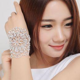 Wholesale Jewelry Bridal Armband - 30pcs lot Shiny Rhinestone Bridal Bracelets Silver Plated Lobster Clasp Women Bracelets Armbands Fashion Wedding Jewelry Bridal Accessories
