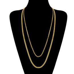 schmuck endet Rabatt Mode 3 MM 5 MM 60 CM 70 CM Männer Edelstahl Gelbgold / Weißes Gold Überzogen Hiphop Cuban Link Kette Unisex Halskette für Männer Frauen NL-231