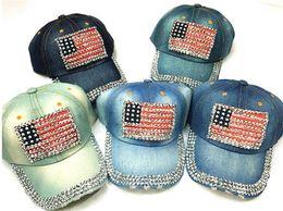 6114eb15a76 100PCS 6 colors Women Baseball Flat Cap Hats Summer American Flag Hat  Cowboy Fashion Rhinestone Denim Cap Snapbacks Hat R033 american flag women  hat outlet
