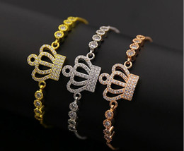 Wholesale Crown Charm Price - 5pcs lot New tennis crown bracelet wholesale price crown charm AAA CZ Inlaid crown bracelet factory hot sale high quality jewelry for women