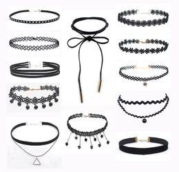 Wholesale Vintage Grunge - Vintage Velvet Chokers Necklace for Women Black Retro Gothic Punk Grunge Velvet Tattoo Necklace Stretch Collar Necklace