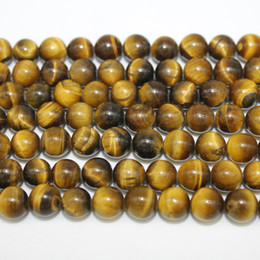 Wholesale Oval Stone Beads - New fashion 4mm 6mm 8mm 10mm 12mm Tiger Eye Round Natural Stone Loose Beads For Jewelry Making