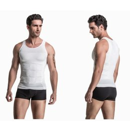 Wholesale Tight Waist Shapewear - Wholesale- S-2XL Men's Slimming Vest body shaper Tank Top Classic Undershirt Tight T-shirt Abdomen Shapewear Tummy Waist lost weight N life