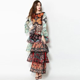 Wholesale Dress Maxi Runway - New Arrival Women's O Neck 3 4 Sleeves Printed Floral Tiered Layered Ruffles Long Runway Maxi Dresses