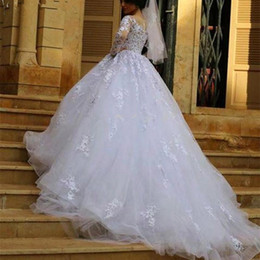 Wholesale Applique Designs For Wedding Dresses - Classic Design Long Sleeve White Wedding Dresses Ball Gown Beaded Appliques Lace Tulle Bridal Gowns 2017 Elegant Wedding Dress for Bride