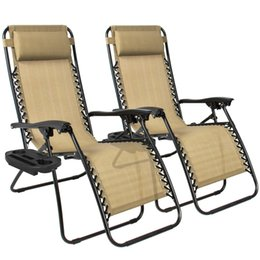 Wholesale Wicker Outdoor Chair - Zero Gravity Chairs Case Of (2) Tan Lounge Patio Chairs Outdoor Yard Beach New