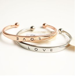 Wholesale Wholesale Bracelets Positive - Stainless Steel Engraved Positive Inspirational Quote Hand Stamped Cuff Mantra Love Bracelet Bangle for Women