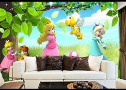 Индивидуальные 3D фото обои фрески HD Мультфильм Принцесса девушки Спальня Детская комната детская комната декор / детские эко-обоев от Поставщики экологически чистые фрески