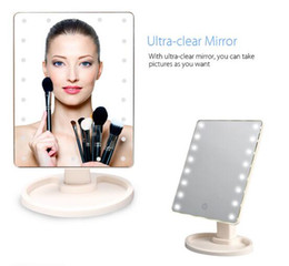 Wholesale Magnifying Lighted Makeup Mirror - Hot selling professional square lighted cosmetic standing make up mirror hollywood style magnifying led makeup mirror with led