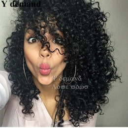 Wholesale burgundy afro - Like Human Hair Wigs For Black Women Peruvian Afro Kinky Curly None Lace Wigs With PartyHair Free Shipping