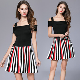 Wholesale High End Girls Dresses - Sexy Knitted Striped A-Line Mini Dress 2017 High-end Summer Women Casual Fashion Spaghetti Strap dress for OL Ladies Girls