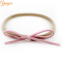 Wholesale Suede Headbands - Wholesale- 12pcs lot 2016 Infant Toddler Baby Girls Suede Solid Bow Elastic Nylon Headband, Baby Headbands,Kids Hairband Hair Accessories