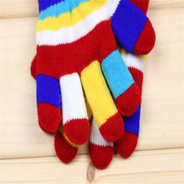 Wholesale Unisex Colorful Candy - Baby Boys Girls Gloves Colorful Winter Warm Knitted Gloves Autumn Stripe Multicolor Fashion Candy Finger Gloves