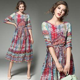 Wholesale Plus Size Sundresses - UK British Brand 2017 Women Plus size Casual Summer Simple A-Line Dress High quality Ball Gown Female vestido Slim sundress