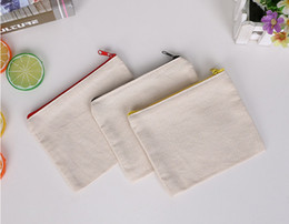 Wholesale Old Schools - blank canvas zipper Pencil cases pen pouches cotton cosmetic Bags makeup bags Mobile phone clutch bag organizer