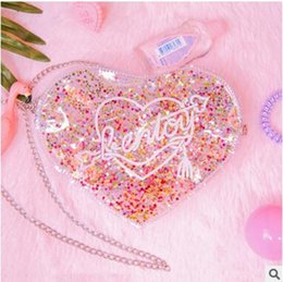 Wholesale Summer Peach Bag - Summer Bentoy Bling Jelly Shoulder Bags Twinkl Peach Heart PVC Laser Bags Ladys Small Beach Bags Fashion Popular Lucency Cross Body Bag
