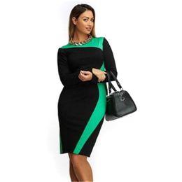 Wholesale Big Polka Dot Women Dress - Wholesale- 2017 Patchwork black plus size dress office bodycon dress womens sexy o-neck curve big size party dress with lace patchwork