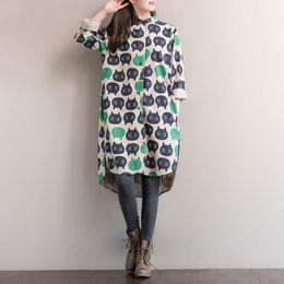 Wholesale Dresses Cats Women - Ladies Cats Pattern Loose Shirt Vestidos 2017 New spring Fashion Women Long Sleeve linen Cotton Vintage Dress Plus Size Clothing