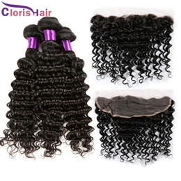 Wholesale Cheap Indian Closures - 13x4 Ear to Ear Curly Lace Frontal Closure With Bundles 4pcs Cheap Deep Wave Malaysian Peruvian Hair Weaves and Front Lace Closure Pieces
