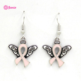 Wholesale Crystal Wing Earrings - New Arrival Breast Cancer Awareness Jewelry Breast Cancer Pink Ribbon Angel Wings Earrings Jewelry Bijoux