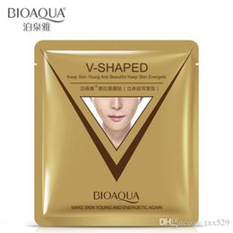 Wholesale V Shape Face - brand sheet mask face care facial chin V shaped lifting collagen face masks cosmetic firming whitening bioaqua beauty mask face